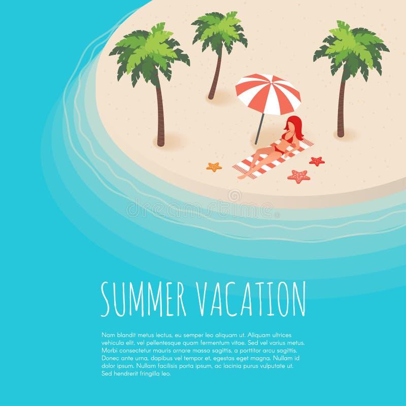 Vector l'illustrazione isometrica dell'isola tropicale con le palme illustrazione di stock