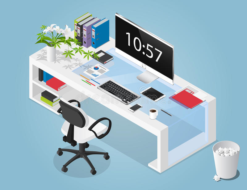 Vector l'illustrazione isometrica di concetto dello spazio di funzionamento dell'ufficio immagini stock libere da diritti
