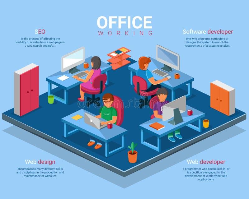 Vector l'illustrazione isometrica piana di concetto dell'ufficio di affari 3d illustrazione vettoriale
