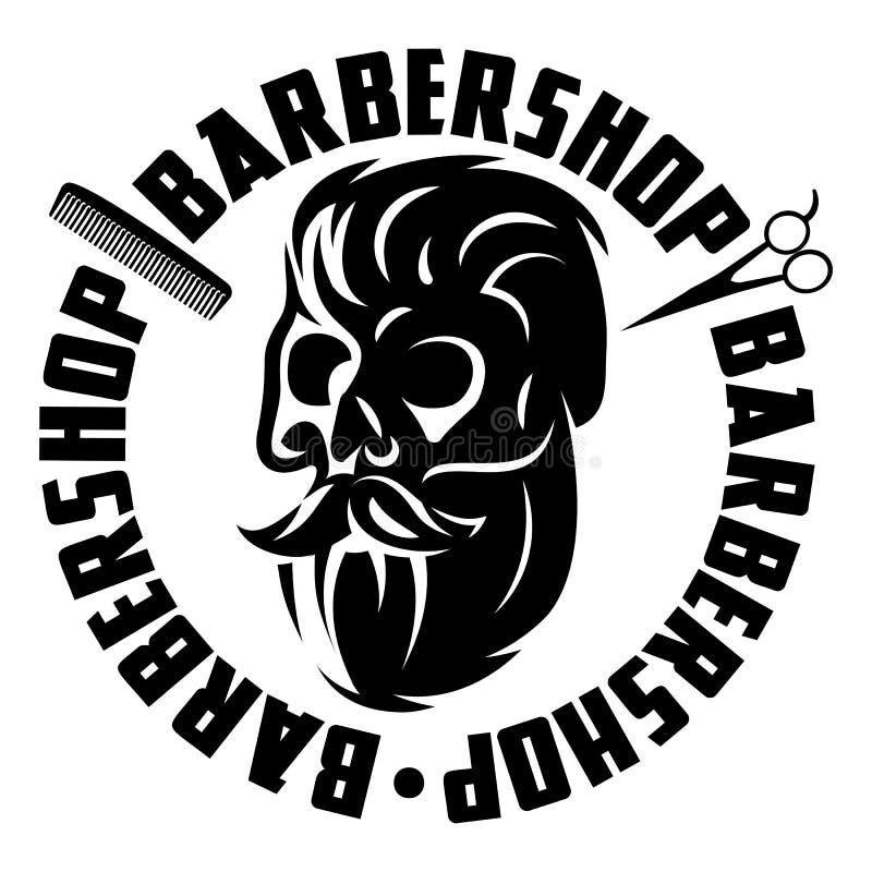 Vector l'illustrazione monocromatica con il cranio barbuto per il parrucchiere illustrazione di stock