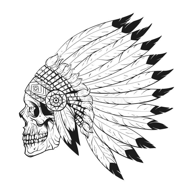 Vector l'illustrazione monocromatica del cofano d'uso di guerra del cranio stilizzato illustrazione di stock