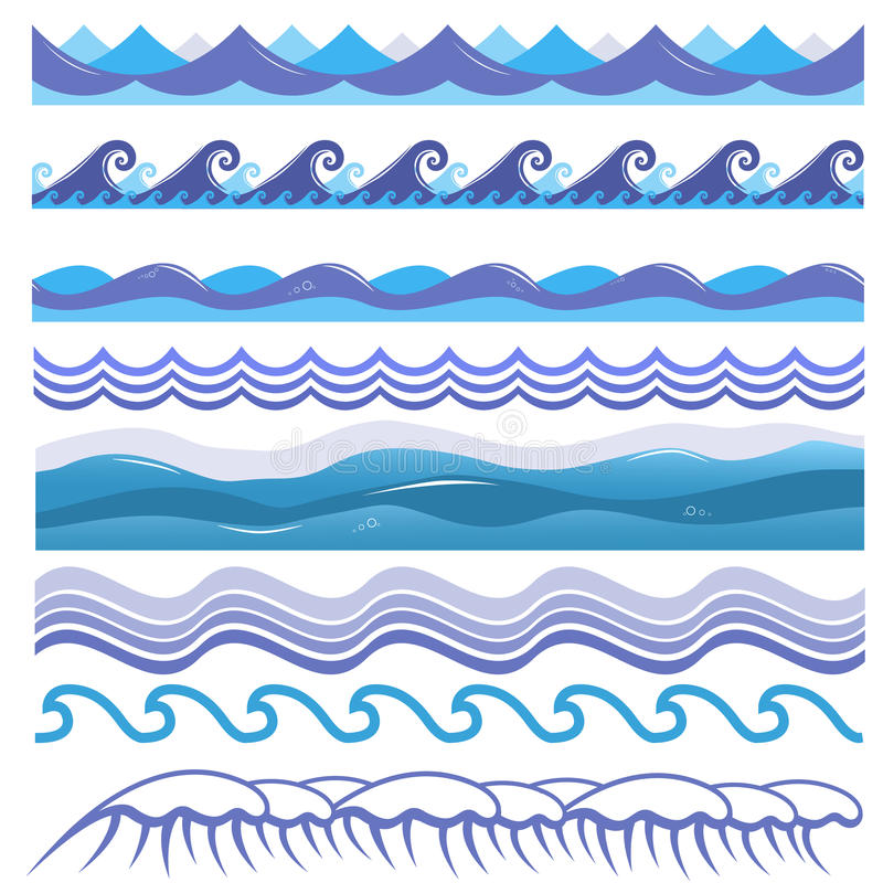 Vector l'illustrazione onde dell'oceano, mare, spume e illustrazione di stock