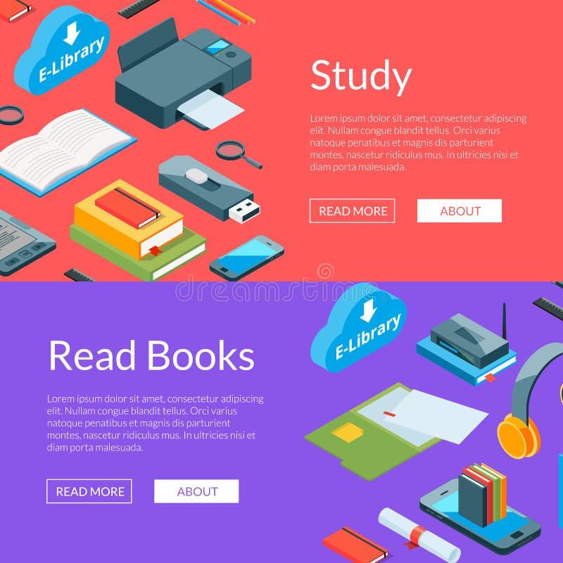 Vector l'illustrazione online isometrica dei modelli dell'insegna di web delle icone di istruzione royalty illustrazione gratis
