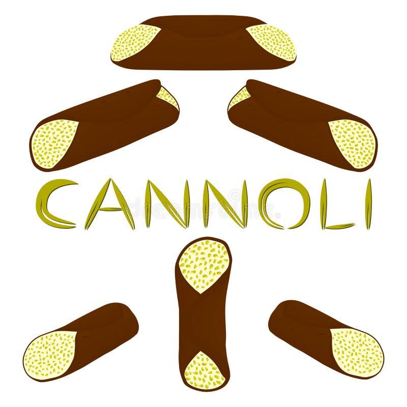 Vector l'illustrazione per dessert siciliano c delle varie cialde del dolce illustrazione vettoriale