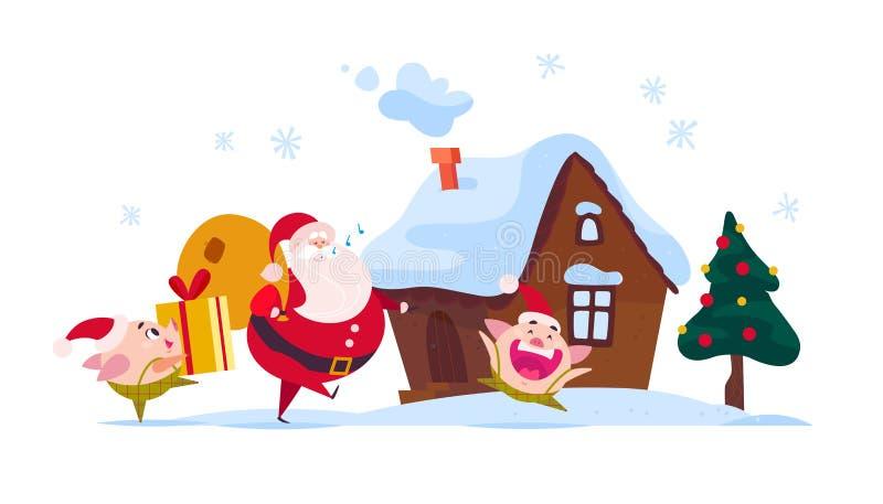 Vector l'illustrazione piana di Buon Natale di Santa Claus con la borsa del regalo, il maiale che sveglio l'elfo porta il conteni illustrazione vettoriale