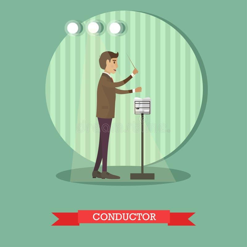 Vector l'illustrazione piana di stile del conduttore musicale con il bastone illustrazione di stock