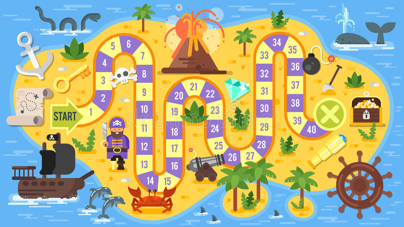 Vector l'illustrazione piana di stile del gioco da tavolo del pirata dei bambini immagini stock libere da diritti