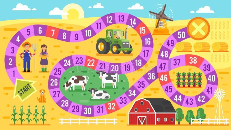 Vector l'illustrazione piana di stile del modello del gioco da tavolo dell'azienda agricola dei bambini immagini stock libere da diritti