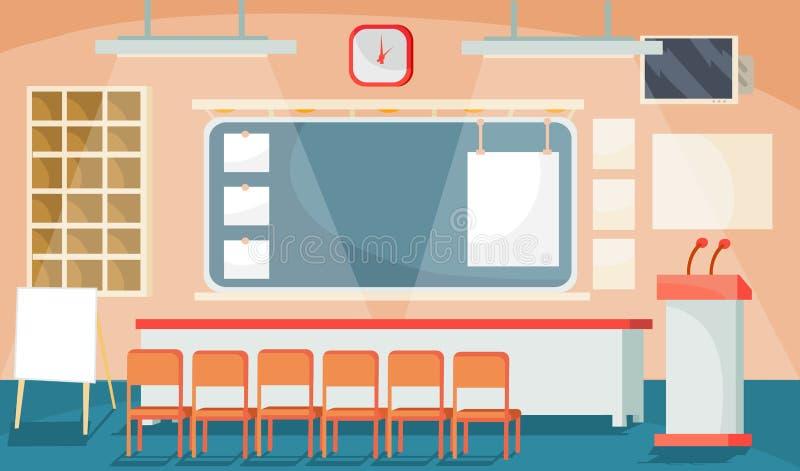 Vector l'illustrazione piana di un interno di affari - la conferenza, la sala riunioni, stanza per le presentazioni illustrazione di stock