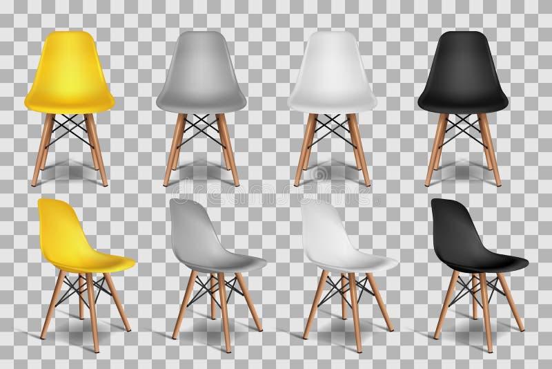 Vector l'illustrazione realistica 3d delle sedie, isolata su fondo trasparente Oggetti isometrici interni del sottotetto illustrazione di stock