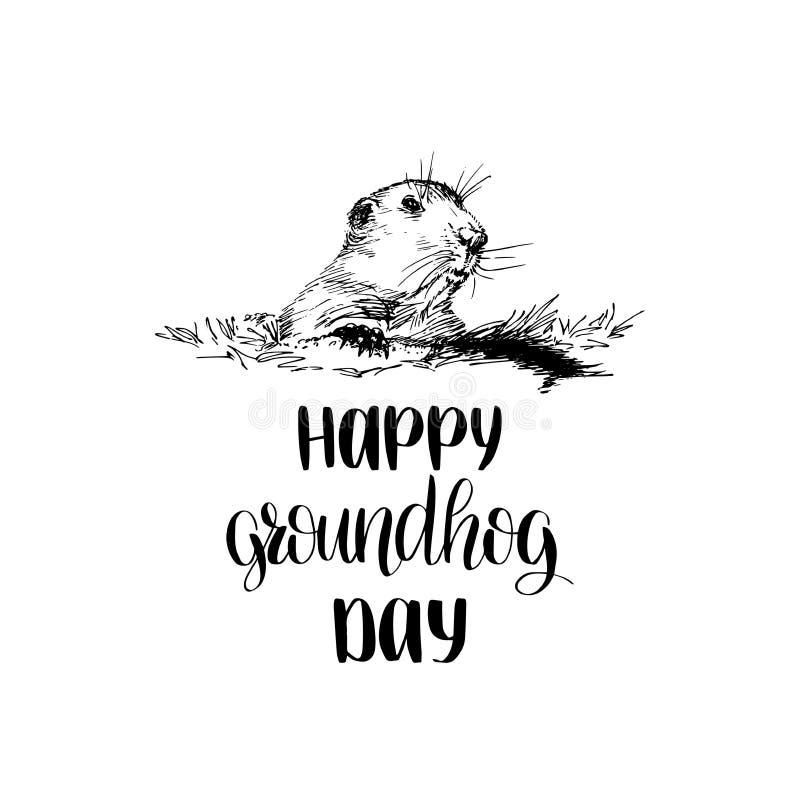 Vector l'illustrazione schizzata giorno della marmotta felice con l'iscrizione della mano 2 febbraio cartolina d'auguri, manifest illustrazione di stock