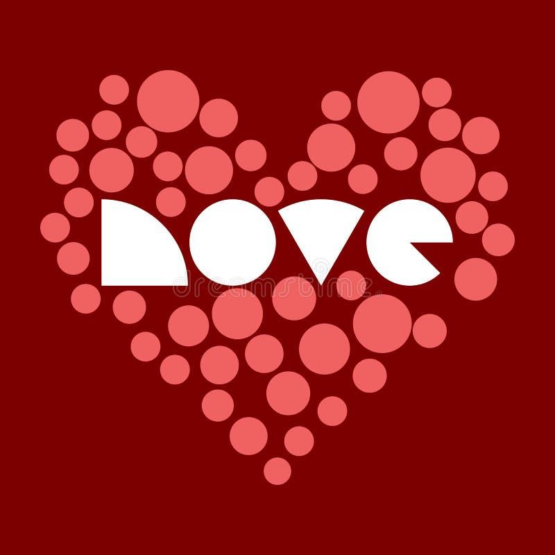 Vector l'illustrazione semplice di un cuore con un'iscrizione stilizzata immagini stock