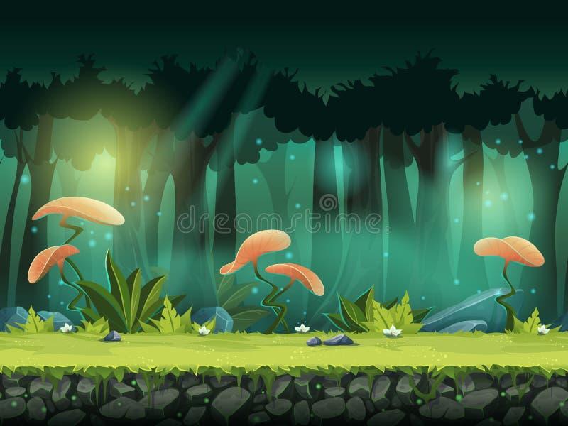 Vector l'illustrazione senza cuciture orizzontale della foresta con mistico illustrazione vettoriale