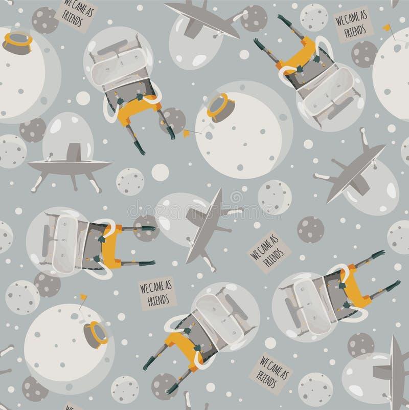 Vector l'illustrazione senza cuciture sveglia con gli stranieri adorabili, l'astronave e poco pianeta Colori grigi e gialli Model illustrazione di stock