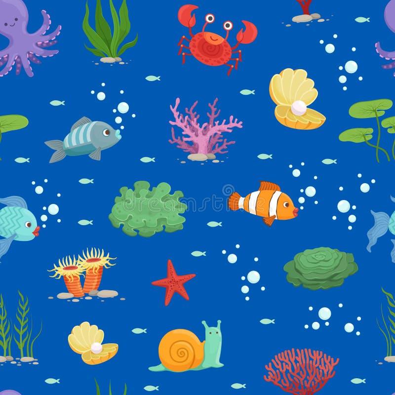 Vector l'illustrazione subacquea delle creature del fumetto e del modello o del fondo dell'alga royalty illustrazione gratis