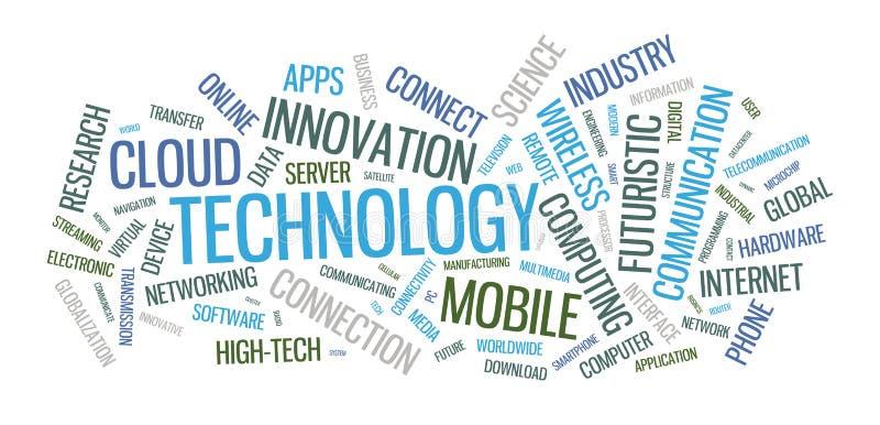 Illustrazione della nuvola di parola di tecnologia illustrazione vettoriale