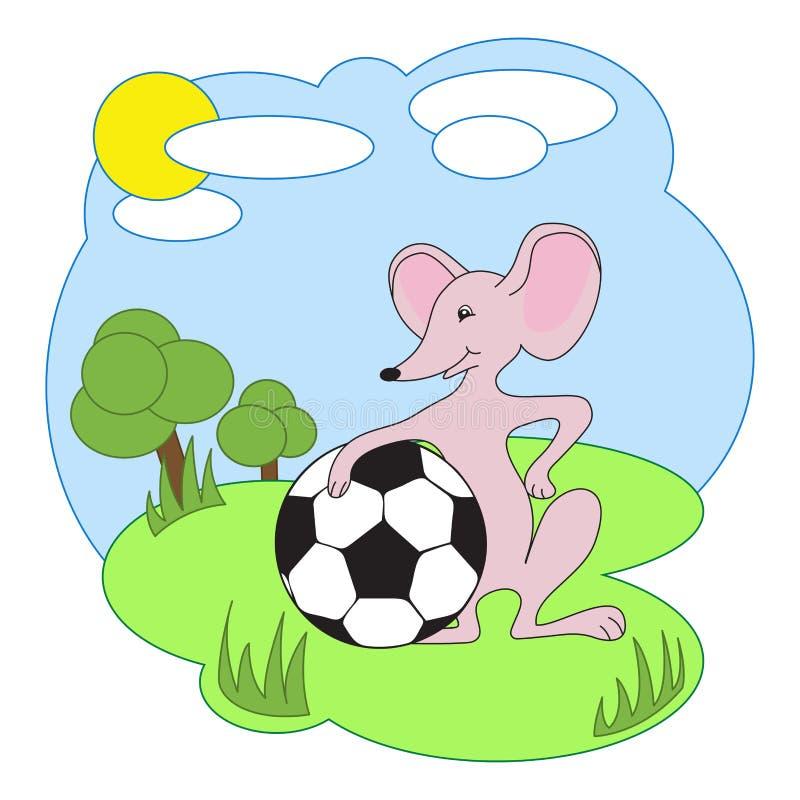 Vector l'illustrazione, topo con pallone da calcio su una radura royalty illustrazione gratis