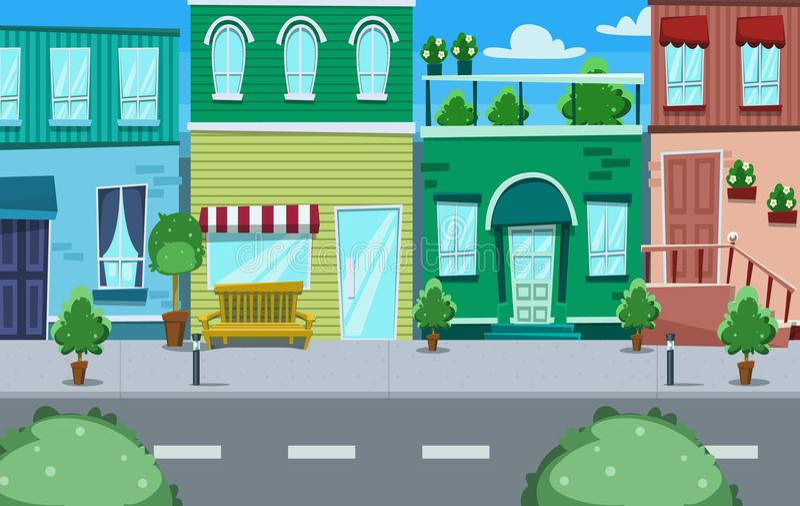 Vector l'illustrazione urbana del fondo di scena della casa e del negozio della via del fumetto illustrazione vettoriale