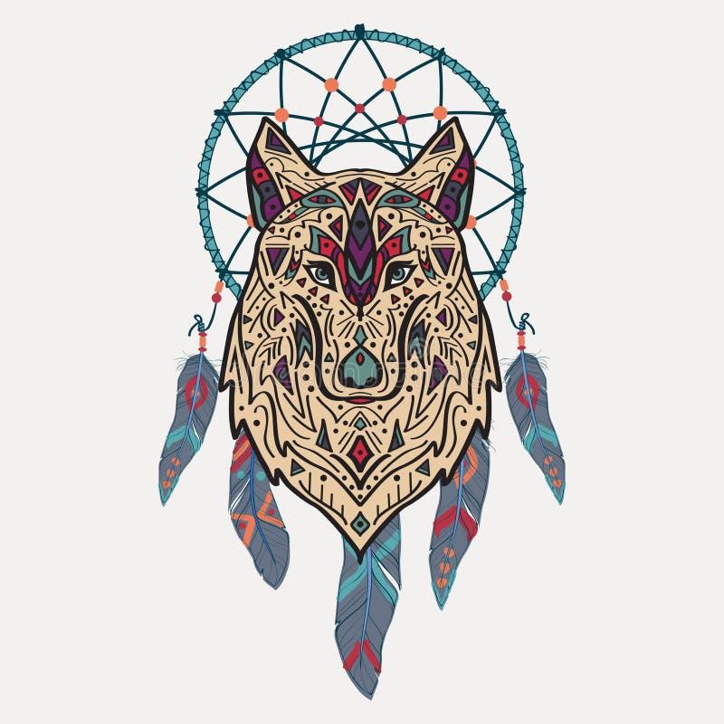 Vector l'illustrazione variopinta del lupo tribale di stile con gli ornamenti etnici ed il collettore di sogno illustrazione di stock