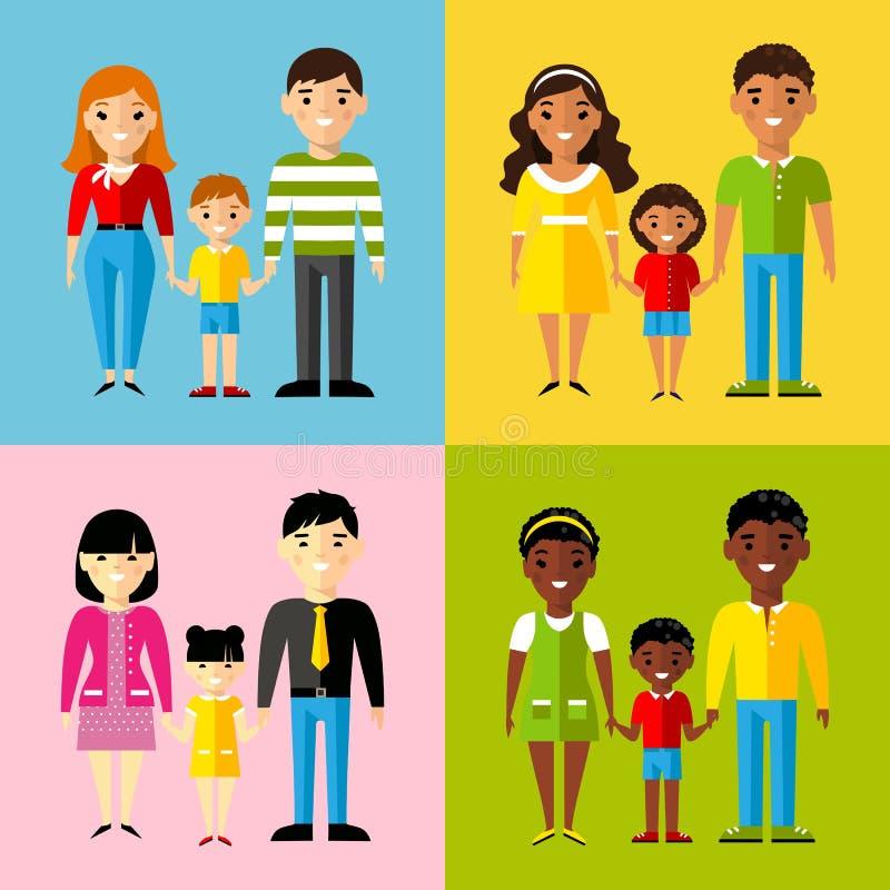 Vector l'illustrazione variopinta dell'afroamericano, l'asiatico, l'Arabo, famiglia europea illustrazione di stock