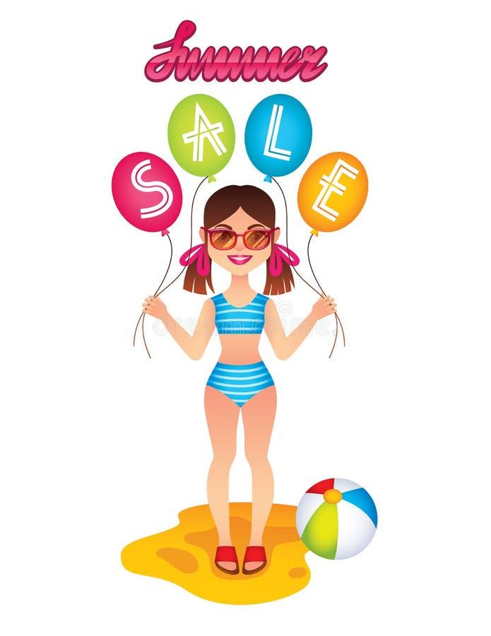 Vector l'illustrazione variopinta di una bambina sveglia in costume da bagno che gioca sulla spiaggia illustrazione vettoriale