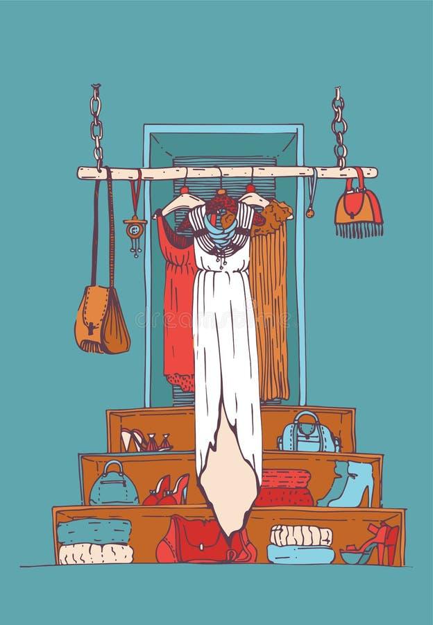 Vector l'illustrazione verticale con il vestito lungo bianco sul gancio nell'interno blu del negozio Boutique disegnato a mano di illustrazione di stock