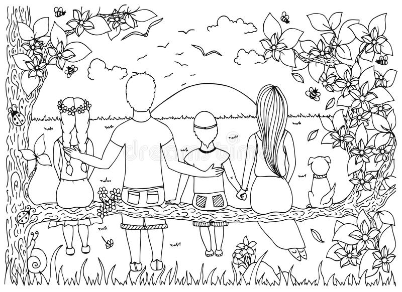 Vector l'illustrazione Zen Tangle, la famiglia si siede su un albero e sulla sorveglianza del tramonto illustrazione vettoriale