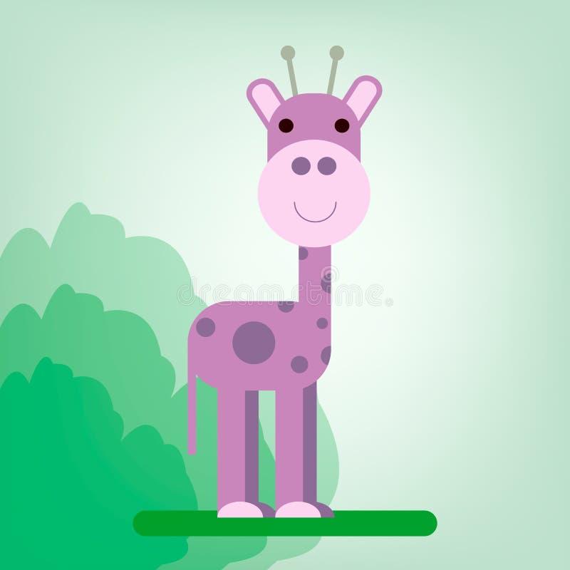 Vector l'immagine, che descrive una giraffa porpora sveglia e allegra illustrazione di stock