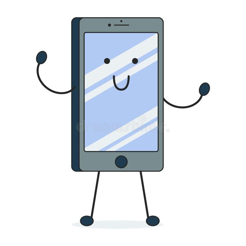Vector l'immagine del fumetto di uno smartphone nero con uno schermo blu, con le armi e le gambe, stanti nella posa della present royalty illustrazione gratis
