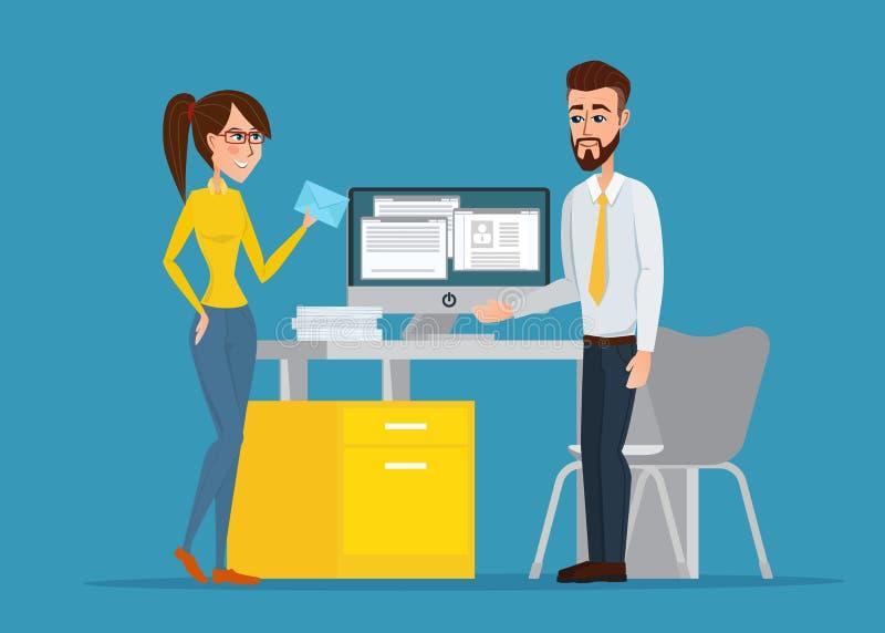 Vector l'immagine dell'uomo e della donna al loro posto di lavoro royalty illustrazione gratis
