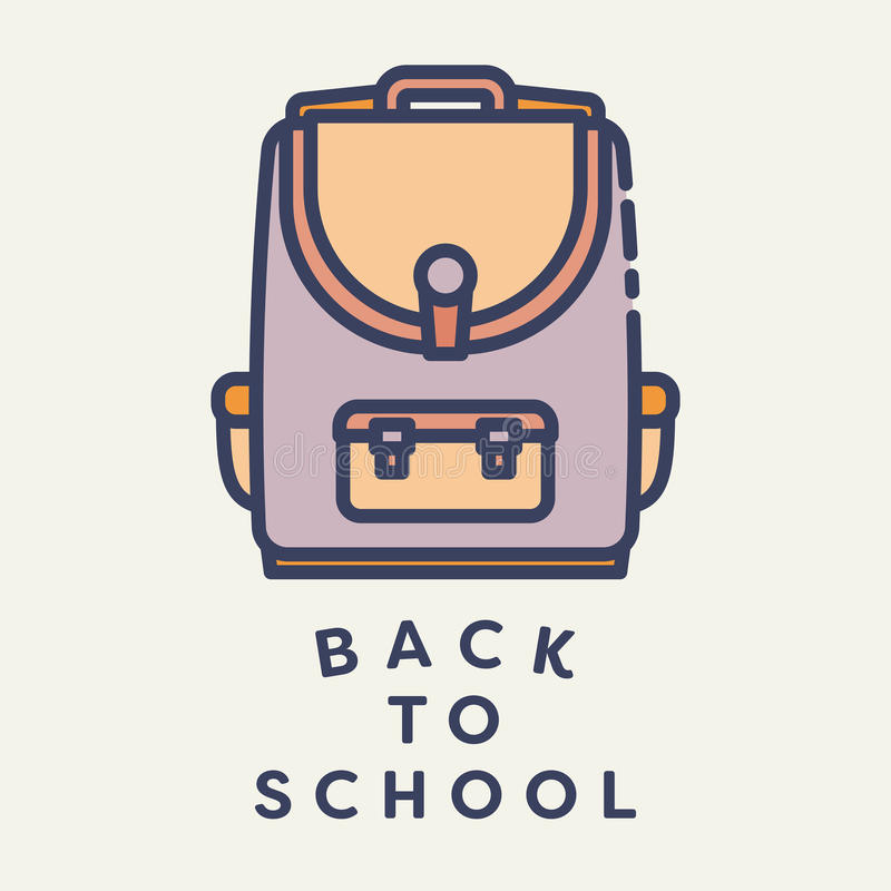 Vector l'immagine della borsa di scuola con testo di nuovo alla scuola royalty illustrazione gratis