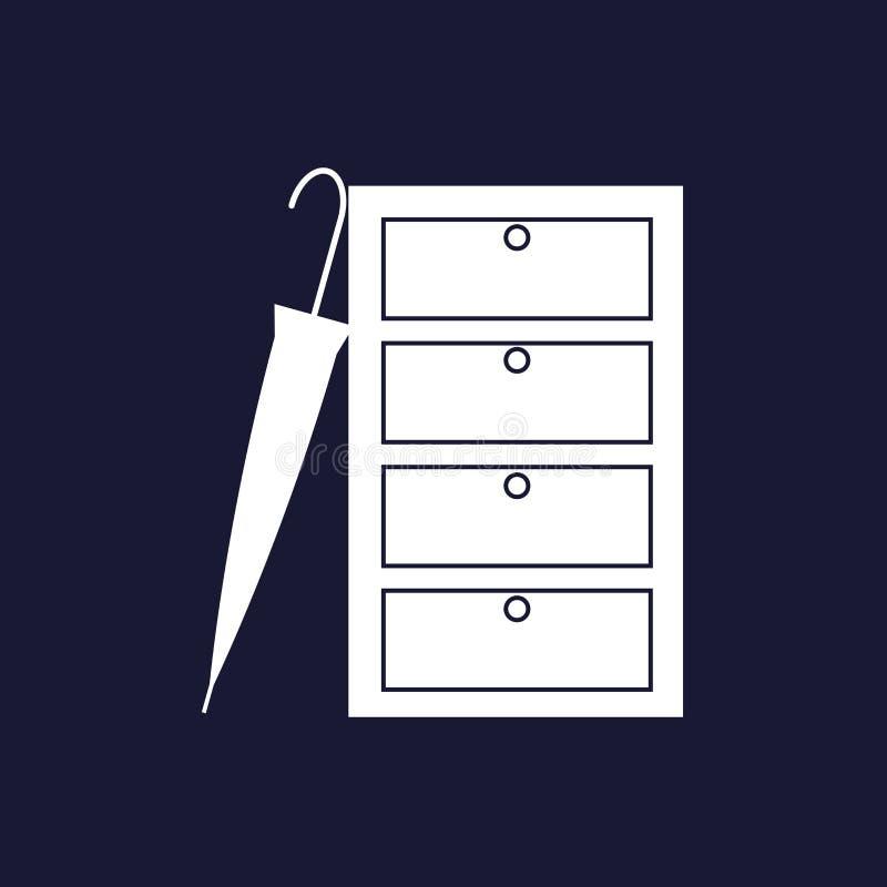 Vector l'immagine di un guardaroba chiuso per i vestiti e un ombrello C illustrazione vettoriale