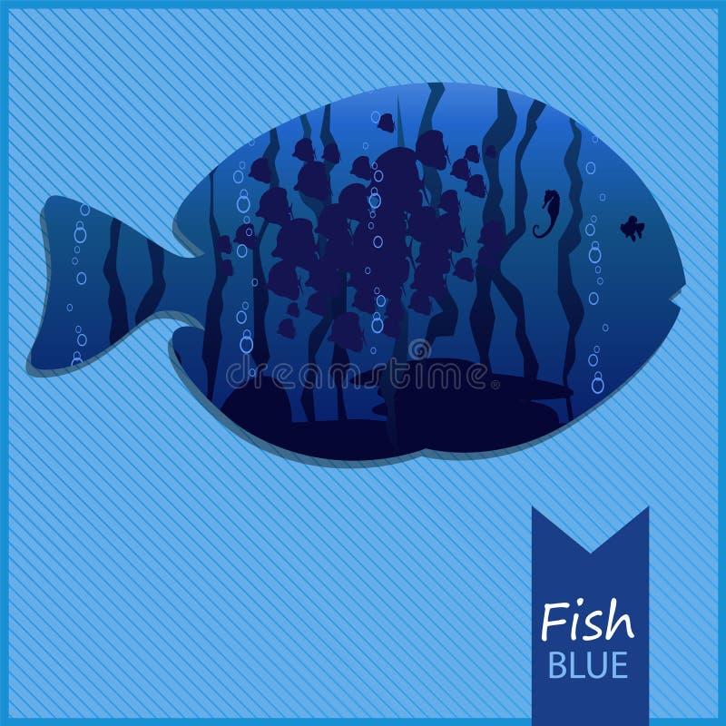 Vector l'immagine di un pesce su fondo blu fotografia stock libera da diritti