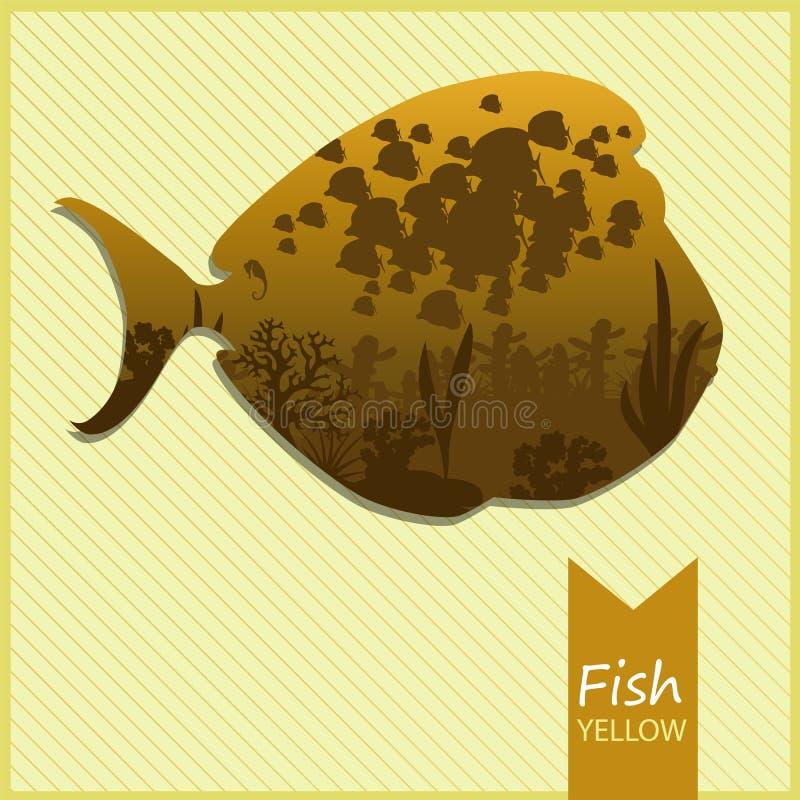Vector l'immagine di un pesce su fondo giallo immagine stock