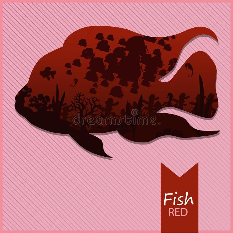 Vector l'immagine di un pesce su fondo rosso fotografia stock