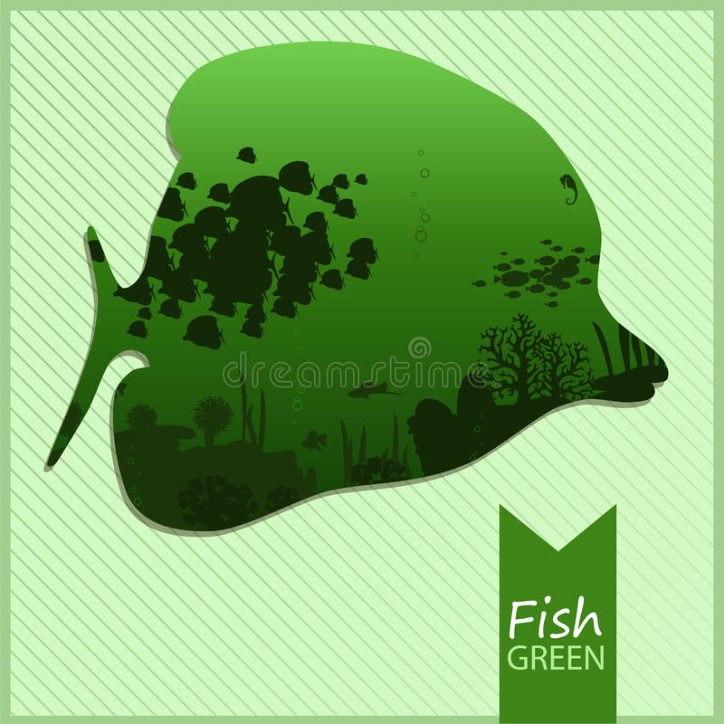 Vector l'immagine di un pesce su fondo verde fotografie stock