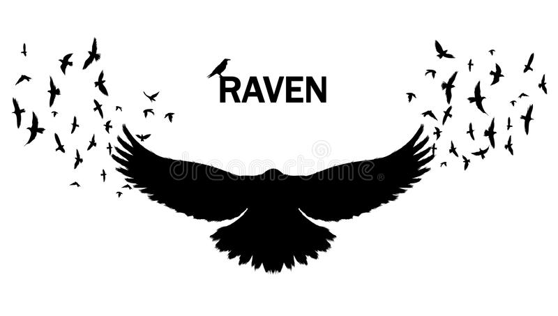 Vector l'immagine di una siluetta di un corvo su un fondo bianco royalty illustrazione gratis