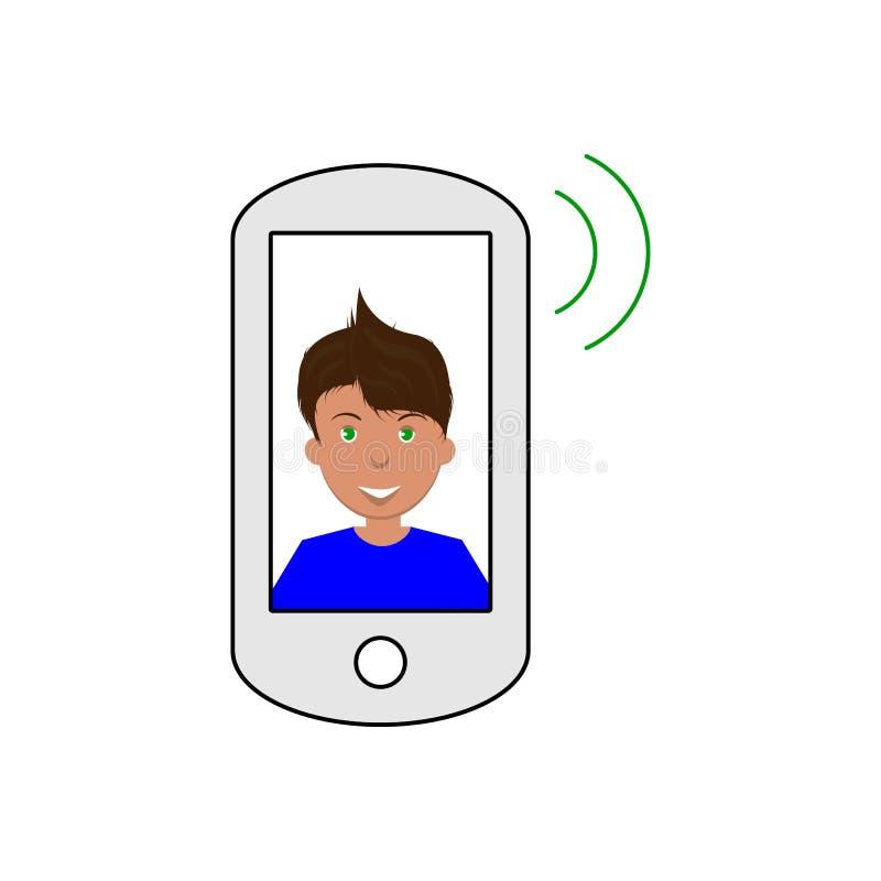 Vector l'immagine di uno smartphone che pubblica un suono con un uomo sorridente sullo schermo, un'icona piana per una rete socia illustrazione vettoriale
