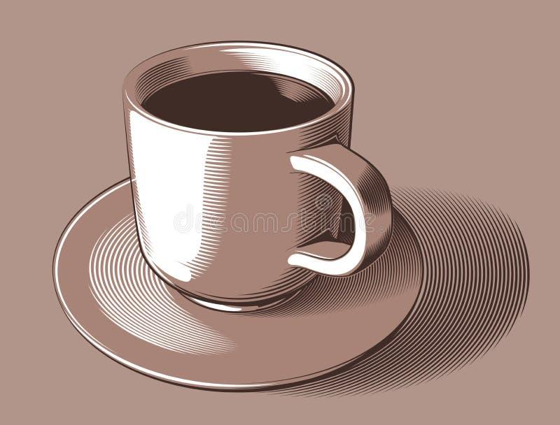 Vector l'immagine semplificata di una tazza di caffè e di un piattino, su un fondo marrone chiaro royalty illustrazione gratis