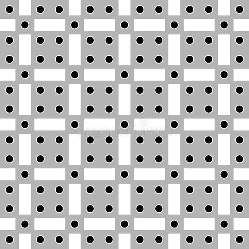 Vector l'immagine senza cuciture del fondo astratto dell'illustrazione dei cerchi neri, dei quadrati grigi e dei rettangoli bianc illustrazione vettoriale