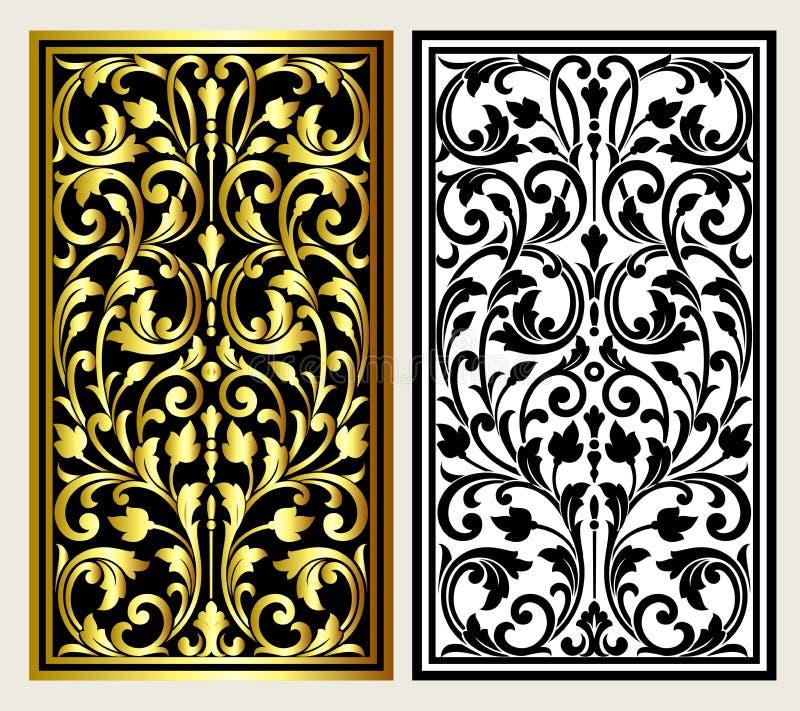 Vector l'incisione d'annata di logo della struttura del confine con il retro modello dell'ornamento nella progettazione decorativ illustrazione vettoriale