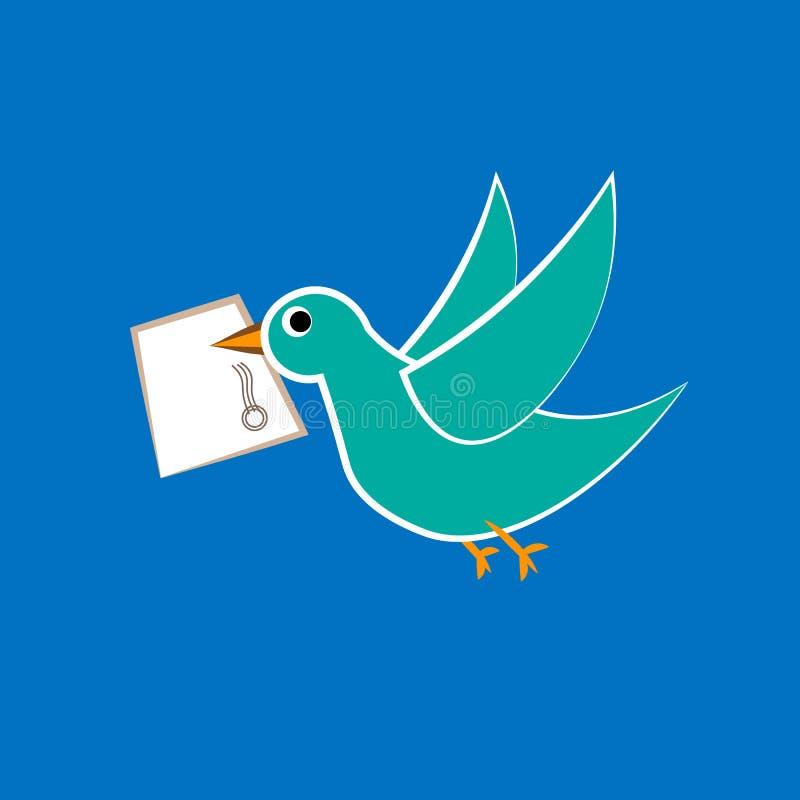 Vector l'insegna con amore della posta della colomba, della busta e di testo illustrazione vettoriale