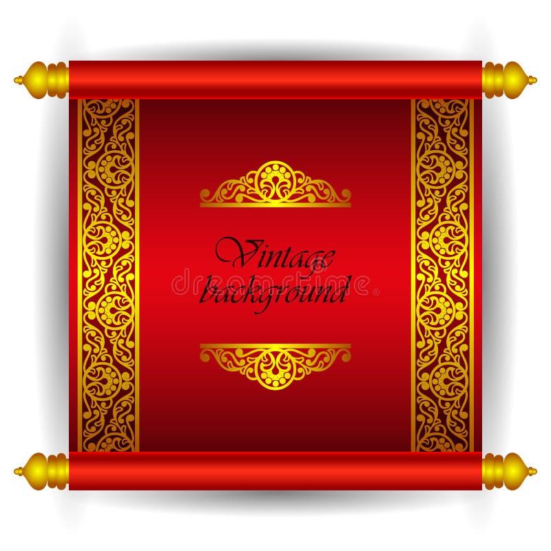 Vector l'insegna del rotolo nello stile arabo marocchino di lusso reale Modello floreale del nastro dorato su un fondo rosso come illustrazione vettoriale