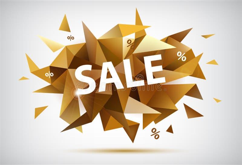 Vector l'insegna sfaccettata vendita, stile moderno dorato illustrazione vettoriale