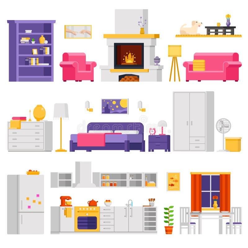 Vector l'insieme accogliente dell'interno degli elementi della stanza e della mobilia nella progettazione piana per progettazione royalty illustrazione gratis