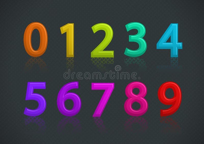 Vector l'insieme dei numeri variopinti illustrazione di stock