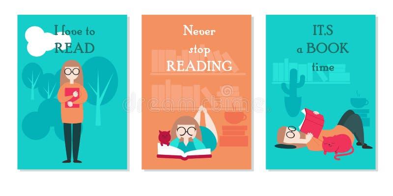 Vector l'insieme di carta con il libro di lettura della giovane donna mentre stanno, trovandosi a casa e fuori e le citazioni isp illustrazione vettoriale