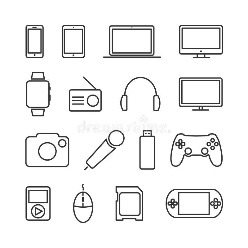 Vector l'insieme di immagine dei dispositivi e della linea icone di elettronica illustrazione di stock