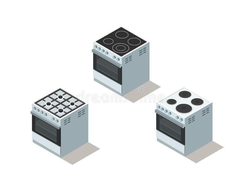 Vector l'insieme isometrico del fornello di gas ed elettrico, la stufa, attrezzatura della cucina royalty illustrazione gratis