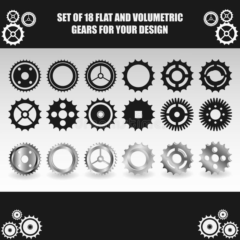 Vector l'insieme piano e volumetrico dell'ingranaggio per la vostra progettazione fotografia stock libera da diritti